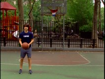 Demetri Martin shows off his backwards 3-point shooting abilities in this unused transitional bit included as a bonus feature.