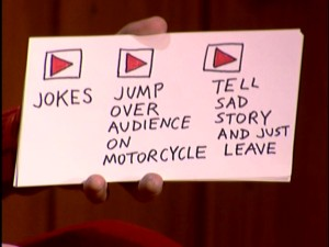 "Demetri's interactive note card presents three options to choose from in determining what should happen next in the episode ""Coolness."""