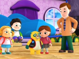 Because this little girl's father is too incompetent to locate the bus stop, Special Agent Oso takes it upon himself to show the way.