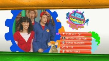 Nina and the Movers bounce around and within rotating gears on the disc's widescreen main menu.
