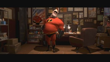 Mr. Incredible struggles to get into his suit in the film's memorable 2003 theatrical teaser.