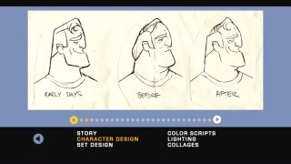 This still from the Character Design gallery shows the chronological progression of Mr. I.
