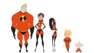Concept art reveals the design of the Incredibles family.