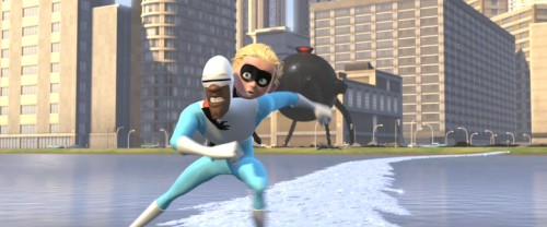 Frozone and Dash move away from the Omnidroid.
