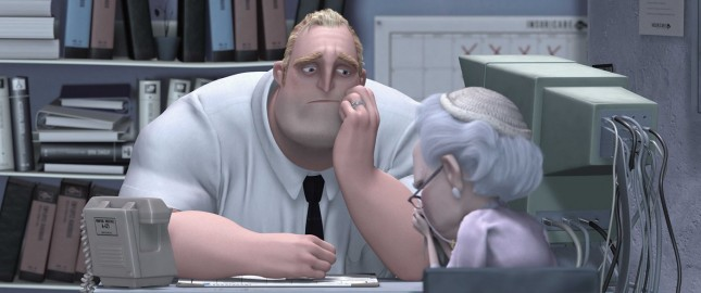As Bob Parr, Mr. Incredible has a case of the cubicle blues.