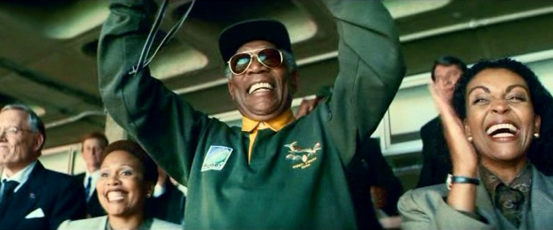 Nelson Mandela (Morgan Freeman) shows his national pride with a Springboks jersey and enthusiastic applause.