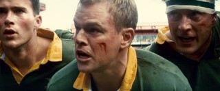 Occasionally wearing a false nose, Matt Damon plays team-rallying South African rugby captain François Pienaar.