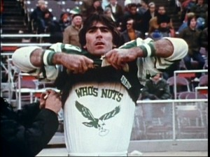 "Papale gets suited up in his playing days. He can be seen wearing a slightly modified version of the ""Who's Nuts"" shirt in footage from today."