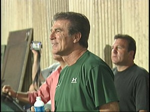 "Papale is all smiles watching his story told on the set of ""Invincible."""