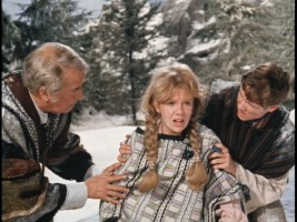 Paganel and John help Mary after a snowy tumble.
