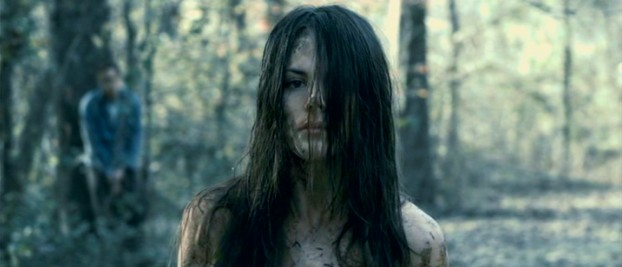 "Beaten, bruised, bloodied, raped, humiliated, dirtied, and nude, Jennifer Hills (Sarah Butler) prepares to vanish without a trace in the 2010 remake ""I Spit on Your Grave."""