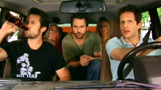The Paddy's Pub gang (left to right, Rob McElhenney, Danny DeVito, Charlie Day, Kaitlin Olson, and Glenn Howerton) starts a road trip to the Grand Canyon, but doesn't get very far.