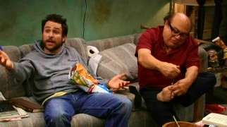Just another day in Charlie (Charlie Day) and Frank's (Danny DeVito) squalor. While one eats Cheetos, the other uses a stake knife to clean his toenails.