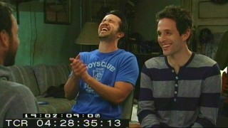 Rob McElhenney and Glenn Howerton have trouble getting through this scene with Charlie Day in Season 5's blooper reel.
