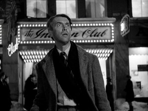 George Bailey (Jimmy Stewart) is shocked to see what Bedford Falls, or rather Pottersville, has become without him.