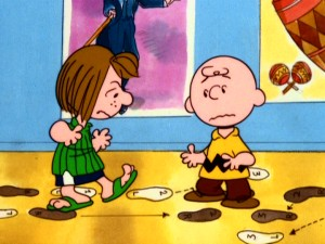 Peppermint Patty pulls Charlie Brown away from Tolstoy for dance lessons in anticipation of her New Year's Eve party.
