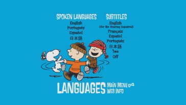 Snoopy, Charlie Brown, and Rerun rejoice at the number of foreign translations offered on the Languages menu.