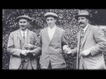 "The real life Harry Vardon, Francis Ouimet, and Ted Ray are seen in a photograph from the brief featurette ""Two Legends and the Greatest Game."""