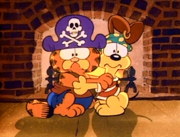 Dressed as pirates, Garfield and Odie experience a fright on Halloween night.