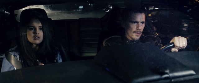 "Selena Gomez and Ethan Hawke play strangers commanded to drive around Sofia, Bulgaria in the action thriller ""Getaway."""