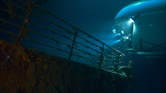 A submersible gets us up close to a bow from the Titanic, ninety years after the ship sunk on its maiden voyage.