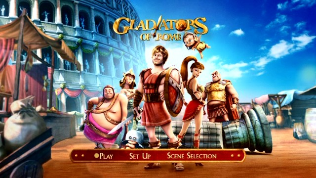 The narrow cover art is expanded on the barebones Gladiators of Rome's static DVD main menu.