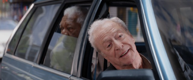"Old men (Morgan Freeman and Michael Caine) enjoy a relaxing drive under the influence of marijuana in ""Going in Style."""