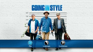 The questions raised by the Going in Style poster art (heights on a white brick wall) remain unanswered as the movie's cover and menu art.