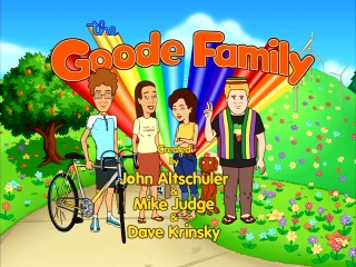 """The Goode Family"" title logo features a Goode Family pose."