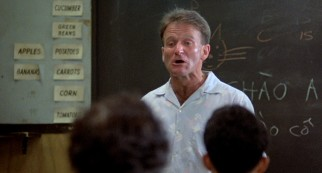 Adrian Cronauer (Robin Williams) teaches the Vietnamese the subtleties of American English profanity.
