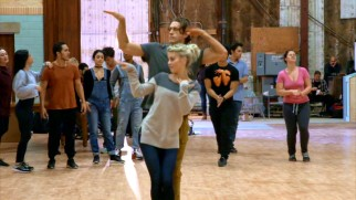 "The cast works on their dance moves in ""Be-Bop, Swing and Jitterbug."""