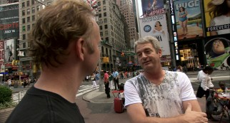 as opposed to Times Square, where Spurlock conducts good man on street interviews surrounded by summer 2010 advertising.