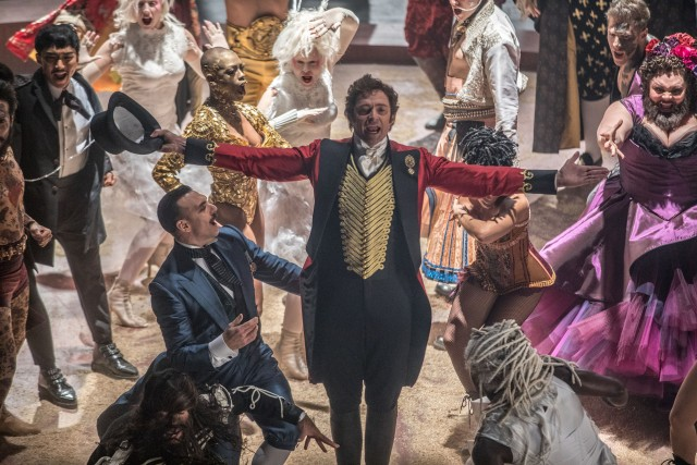 "Hugh Jackman portrays circus visionary P.T. Barnum in the musical biopic ""The Greatest Showman."""