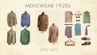 "Day suits, a staple of 1920s menswear, are featured in ""Razzle Dazzle: The Fashion of the '20s."""