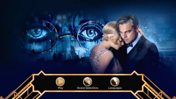 And again on the Blu-ray and DVD's main menu, which places the optometrist's billboard behind Gatsby and Daisy.