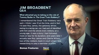 The Great Train Robbery's DVD provides around two hours of interviews, not including text ones with Jim Broadbent and fellow lead actor Luke Evans.