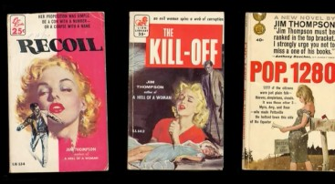 "Covers of author Jim Thompson's pulp fiction paperbacks are on display in ""The Jim Thompson Story."""