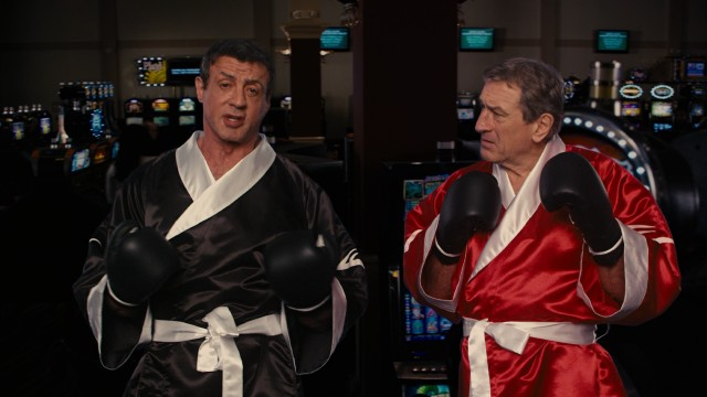 "Henry ""Razor"" Sharp (Sylvester Stallone) and Billy ""The Kid"" McDonnen (Robert De Niro) promote their overdue ""Grudge Match."""