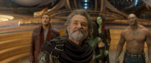 Ego (Kurt Russell), Star-Lord's long-estranged father, welcomes the gang to his planet.