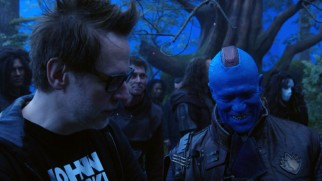 Director James Gunn pals around with his frequent collaborator Michael Rooker, in Yontu makeup in the making-of featurette.