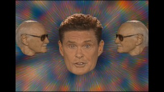"A pair of Stan Lee heads surround David Hasselhoff in the ""Guardians Inferno"" music video."