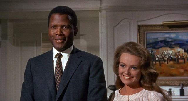 "John Prentice (Sidney Poitier) and Joanna Drayton (Katharine Houghton) are in love and ready to marry in ""Guess Who's Coming to Dinner."""