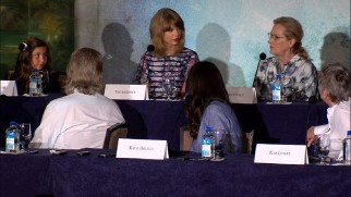 Taylor Swift and Meryl Streep, two female icons two generations removed, are seated next to each other at The Giver's New York press conference.