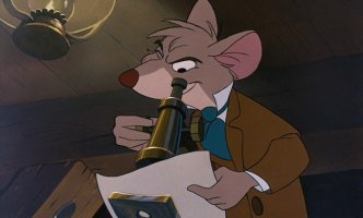 Basil of Baker Street, the Great Mouse Detective, inspects a document.