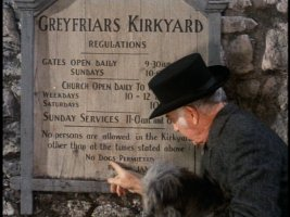 "Kirkyard caretaker James Brown (Donald Crisp) tells Bobby, ""Them's the rules!"" forgetting that dogs can't read."
