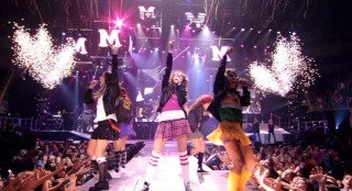 "Miley and her entourage break out the short skirts and fireworks for their ""Girls Night Out."" Let's go - G.N.O.!"