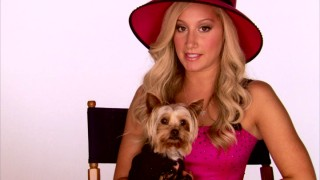 "Sharpay (Ashley Tisdale) sits with Boi (her Yorkie dog) while telling us about (and showing us scenes from) the upcoming HSM spin-off movie ""Sharpay's Fabulous Adventure."""