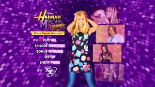 "Publicity photos and featured episode clips come together on the predominantly purple DVD main menu for ""Who is Hannah Montana?"""