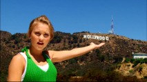 "Emily Osment presents the Hollywood sign as part of her Los Angeles tour in ""Find Your Way Back Home."""