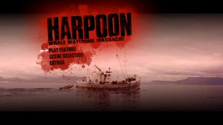 A harpoon serves as a cursor over the bloody listings of the DVD's main menu.